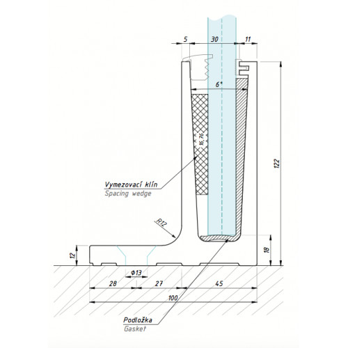 ,,L´´ vyosené kotvení shora, 1500 mm - alinox