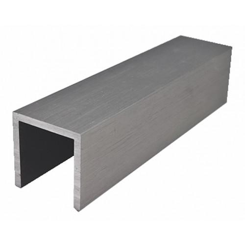 U-profil, ochrana hrany skla, 3000 mm - stříbrný elox
